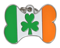 Irish Pride Bone Shape Pet ID Tag - With Engraving