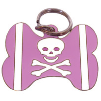 PINK Skull & Crossbones BONE Shaped Engraved Pet ID Tag