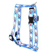"Snowman Print Roman Style ""H"" Dog Harness"