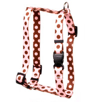 "Pink and Brown Polka Dot Roman Style ""H"" Dog Harness"