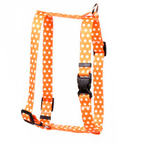 "Orange Polka Dot Roman Style ""H"" Dog Harness"