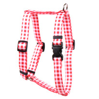 "Gingham Red Roman Style ""H"" Dog Harness"