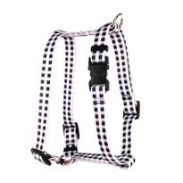 "Gingham Black Roman Style ""H"" Dog Harness"