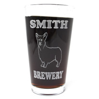 Personalized Pint Glass Beer Mug - Corgi