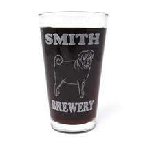 Personalized Pint Glass Beer Mug - Pug