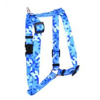 "Camo Blue Roman Style ""H"" Dog Harness"