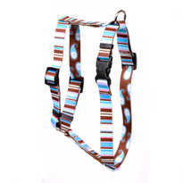 "Brown Stripes Roman Style ""H"" Dog Harness"