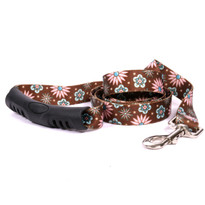 Pink and Teal Flowers EZ-Grip Dog Leash