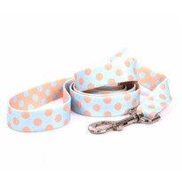 Blue and Melon Polka Dot Dog Leash