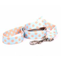 Blue and Melon Polka Dot Dog Leash