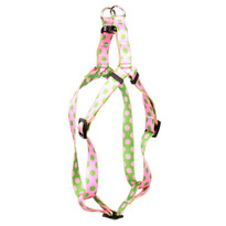 Pink and Green Polka Dot Step-In Dog Harness