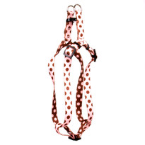 Pink and Brown Polka Dot Step-In Dog Harness