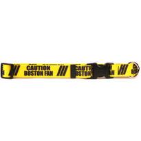 1 Inch - Caution Boston Fan Dog Collar