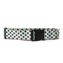 2 Inch Wide Blue and Brown Polka Dot Dog Collar