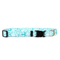 Teal Lace Flowers Dog Collar