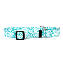 Teal Lace Flowers Martingale Dog Collar