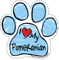 I Love My Pomeranian BLUE Scribble Paw Magnet