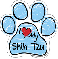 I Love My Shih Tzu BLUE Scribble Paw Magnet