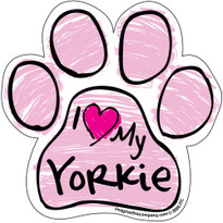 I Love My Yorkie PINK Scribble Paw Magnet