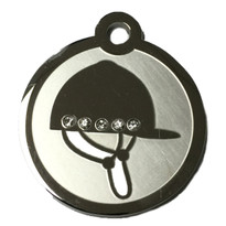 Swarovski Crystal and Stainless Steel Riding Helmet Pet ID Tag