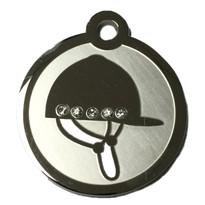 Swarovski Crystal and Stainless Steel Riding Helmet Pet ID Tag