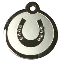 Swarovski Crystal and Stainless Steel Horseshoe Pet ID Tag