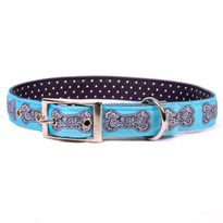 Bella Bone Blue Uptown Dog Collar