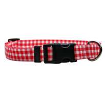 Gingham Red Break Away Cat Collar
