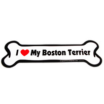 I Love My Boston Terrier Bone Magnet