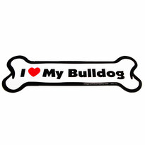 I Love My Bulldog Bone Magnet
