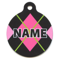 Pink Argyle HD Pet ID Tag