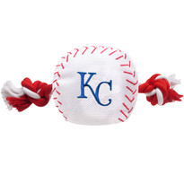 Kansas City Royals Nylon Rope Baseball Squeaker  Dog Toy