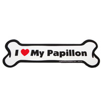 I Love My Papillion Bone Magnet