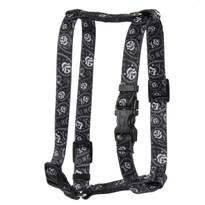 Paisley Skulls Black Roman Style H Dog Harness