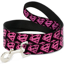 Pink Superman Shield Logo with Hearts Buckle Down Dog Leash
