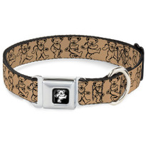 Dancing Bears Tan Black and Silver Buckle-Down Seat Belt Buckle Dog Collar