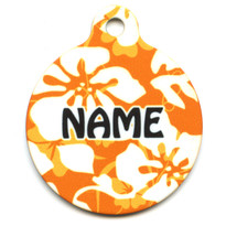 Island Floral Orange HD Pet ID Tag