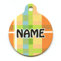 Madras Plaid Orange HD Pet ID Tag