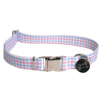 Southern Dawg Gingham Pink and Blue Premium Dog Collar