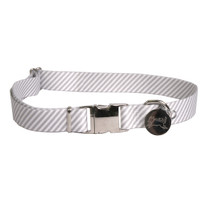 Southern Dawg Seersucker Gray Premium Dog Collar
