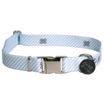 Southern Dawg Seersucker Blue with Skulls Premium Dog Collar