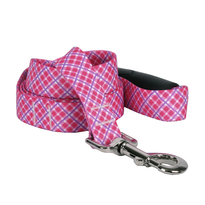 Pink and Purple Diagonal Plaid EZ-Grip Dog Leash