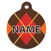 Fall Argyle Plaid HD Pet ID Tag