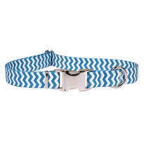 Chevron Blueberry Premium Metal Buckle Dog Collar