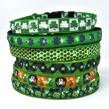 Light Up Hot Dog Safety Collar - Irish Theme