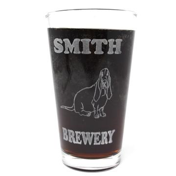Personalized Pint Glass Beer Mug - Basset Hound