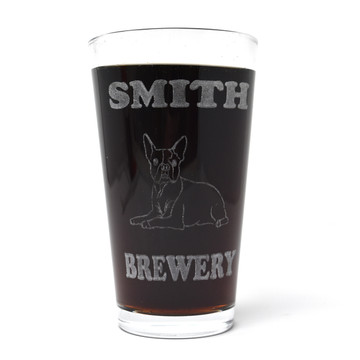 Personalized Pint Glass Beer Mug - Boston Terrier