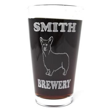 Personalized Pint Glass Beer Mug - Corgi