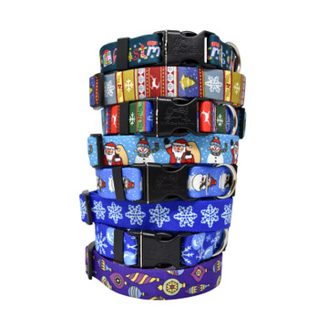 Blue & Cool Christmas Prints - Personalized Martingale Pet Collar