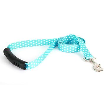 Blue Polka Dot EZ-Grip Dog Leash